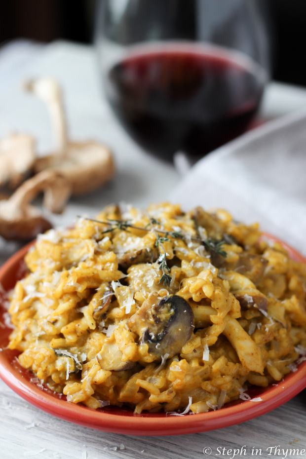 one pot recipe for two Wild Mushroom Risotto